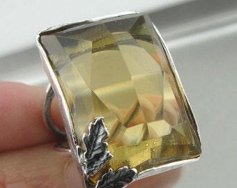 SUPER SALE Israel Handmade Woman Gift 925 Streling Silver massive yellow quratz stone Unique Ring size 7 (r 10009)