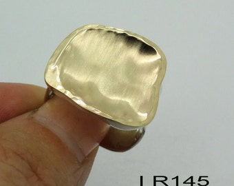 NEW Israel Handmade Yellow Gold Silver Ring size 7.5 (I r145)