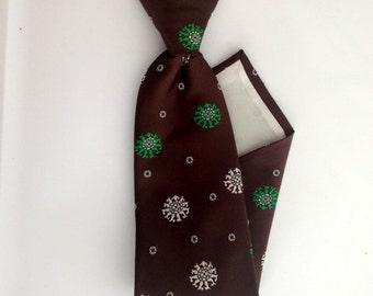 Vintage Polka Dot Tie - 1960s Chocolate Brown, White, GreenClip-On Tie