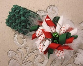 Christmas Jingle Bells Holiday Korker Bow Clip
