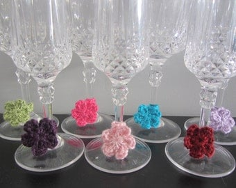 Crochet Small Flower Wine Charms