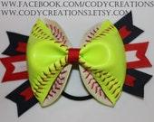 Custom Softball Hair Bow