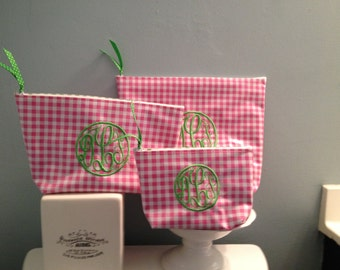 3 Piece Waterproof Oilcloth Preppy Personalized Cosmetic Bag set/ Makeup Bag set/ Pink and Green - 1 Small, 1 Medium, 1 Large with Monograms
