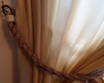 2 Rope Curtain Tie backs Natural Brown Rope Nautical Decor Tie Back for Drapery