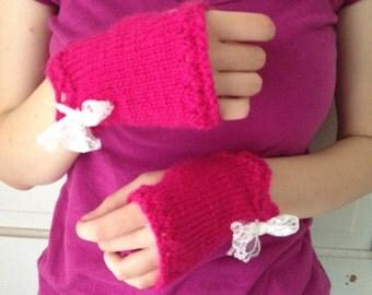 Hot Pink Wool Fingerless Gloves