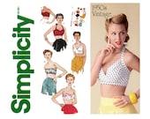 Retro Bra Tops Pattern Uncut Simplicity 1426 1950s Reissue Halter Tops Strapless Bandeau Sun Bathing Bombshell Womens Vintage Sewing Pattern