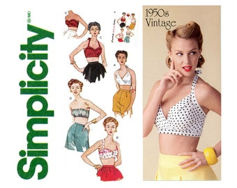 Retro Bra Tops Pattern Uncut Simplicity 1426 1950s Reissue Halter Tops Strapless Bandeau Sun Bathing Bombshell Womens Vintage Sewing Pattern