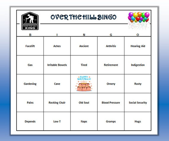 Over The Hill Birthday Party Bingo Game (60 Cards) Old Age