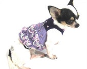 Purple Dog Dress Ruffle Crochet with Crysal Rhinestone and Ring D Cute Puppy Harness Pet Clothes Gift by Myknitt DK923 Free Shipping
