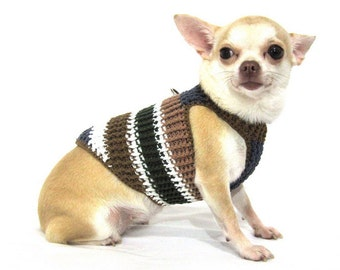 Dog Harness Vest XXS Puppy Collar Cat Clothes Crocheted Cotton Choke Free Kitten Clothing DH19 by Myknitt Free Shipping