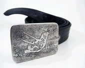 Hummingbird Belt Buckle - Etched Stainless Steel - Handmade