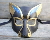Leather Bast Mask With Lapis MADE to ORDER Great for Halloween Burning Man Masquerade Costume LARP Cosplay Mardi Gras Festival Pagan