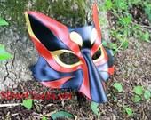 Kabuki  Kitsune Fox Leather Mask Made to Order Great for Halloween Burning Man Masquerade Costume LARP Cosplay Mardi Gras Festival
