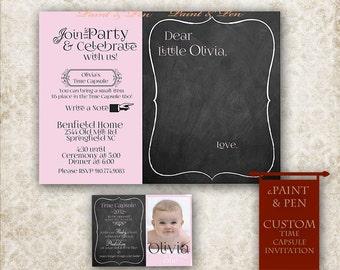 Time Capsule Invite -1st Birthday Time Capsule Invitation- First Birthday Invitation -Baby Shower Invite- Girls Birthday- Custom Printable