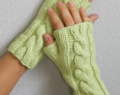 Lime Green Cable Knit Fingerless Gloves