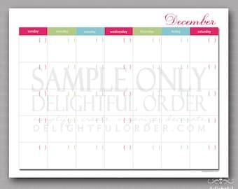 Christmas December Calendar -  PDF Printable File - Instant Digital Download