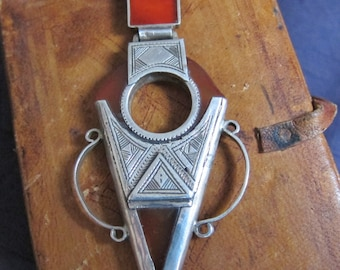 Tuareg Necklace Pure Silver with Agath Telhakimt or Tanfouk
