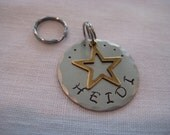 Pet Tag- Brass Star Charm on Hammered Disc