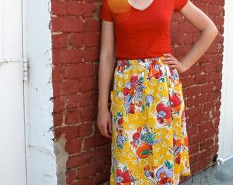 1980s Bright Yellow Fruit Midi Skirt