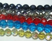 18 faceted glass beads .... your Choice ... 15mm rounds, 14mm rounds, 12mm rounds, 11mm x 14mm Rondells