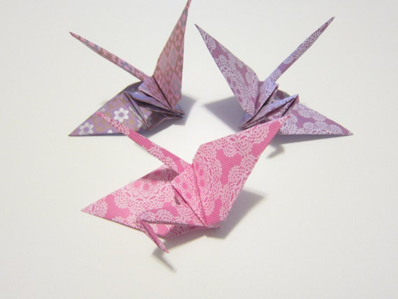 6 Large Lace Pink and Lavender Chiyogami Origami Cranes