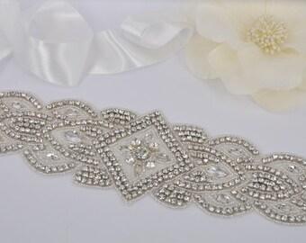 Gabriela - Vintage Style Rhinestone Crystals Wedding Belt, Sash
