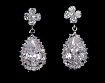 Crystal Clovers - Cubic Zirconia Bridal Earrings