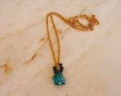 Vintage Gold Chain Necklace with Turquoise Drops