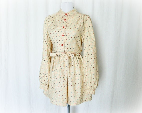 Vintage 70s Mini Dress L Polka Dot Belted Butter Cream Upcycled Long Sleeve