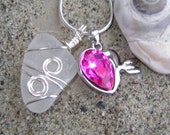 Handmade Seaglass Jewelry: Heart Seaglass Necklace Valentine's Day