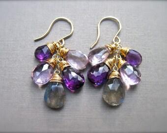 Labradorite and Amethyst Gemstone Earrings, Gemstone Cluster Earrings in 14K Gold Fill, Wire Wrapped Gemstone Dangle Earrings