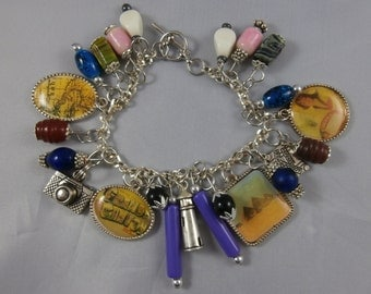 Colorful Sterling Silver Travel Charm Bracelet