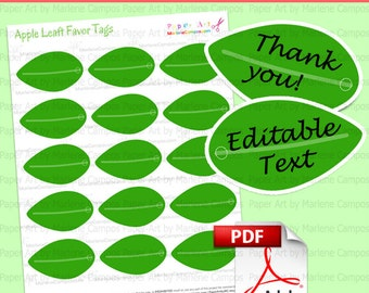 Good Leaf Favor Tags, Editable Tags, Apple Favor Box, Gift, Favor, Treat Holder,  Birthday Party, Paper Toy, Party Supply   Instant Download  Editable Leaf Template
