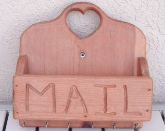 Vintage Wooden Wood Wall Mount Mail Key Holder.