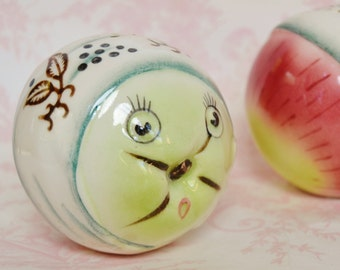 Vintage Anthropomorphic Peach Salt and Pepper Shakers