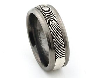 Fingerprint Tungsten Carbide Sterling Silver engraving Inlay Wedding Band, 8mm men's ring
