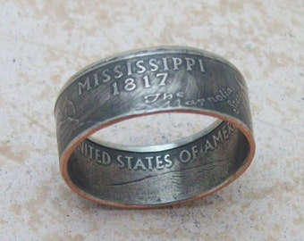 Made To Order Copper Nickle Handmade Jewelry MISSISSIPPI State Quarter Ring Christmas Gift or Stocking Stuffer You Pick the Size 5-10