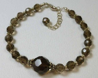 Faceted Smokey Quartz Sterling Silver Adjustable Bracelet