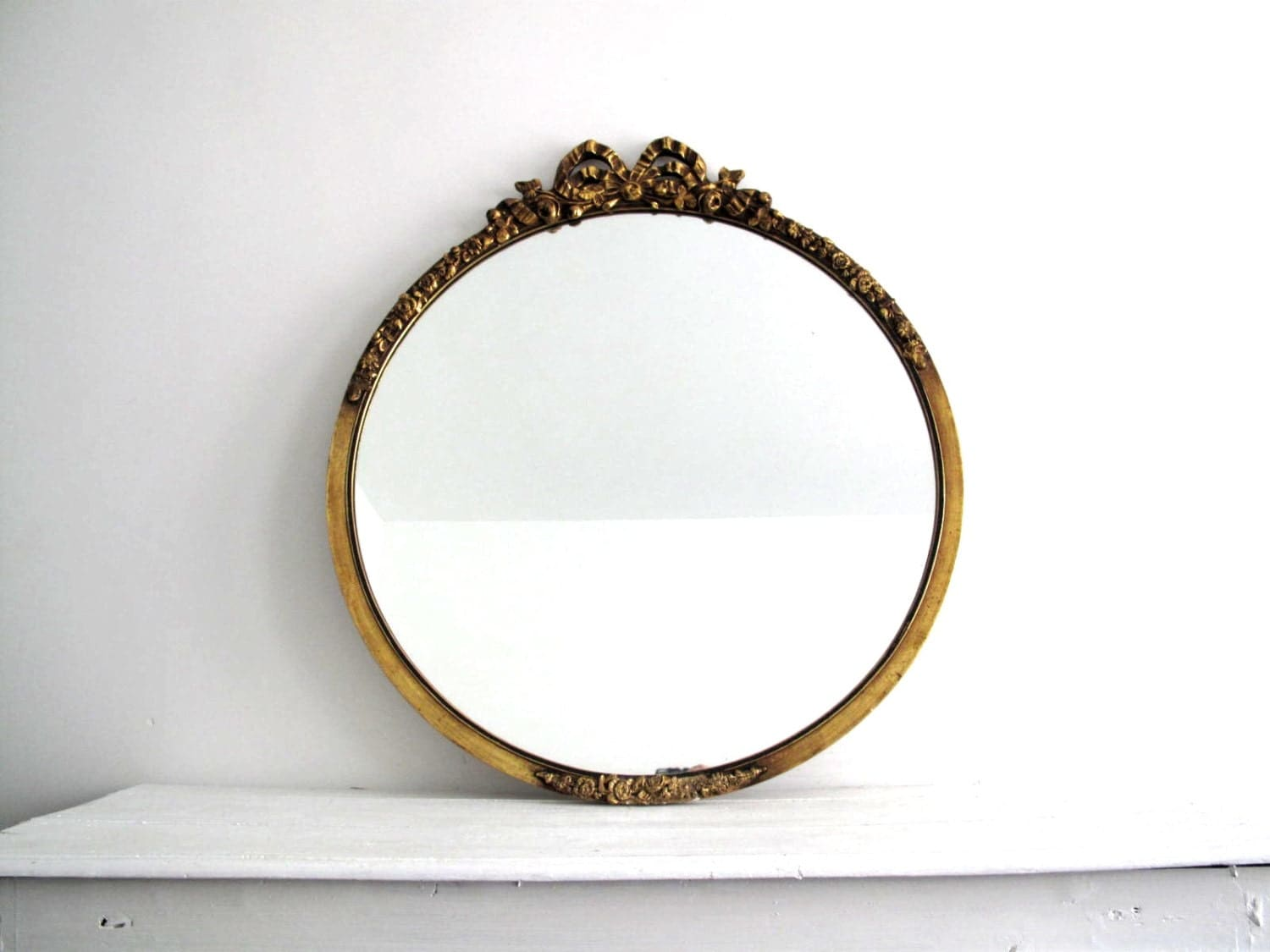 large gold mirror round wood frame bathroom by snapshotvintage