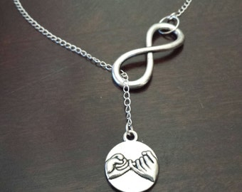 Pinky Swear, Lariat Necklace, Promise, Abstract, Silver Necklace, Bridesmaid,  Gift, Bridal, Wedding, Best Friends