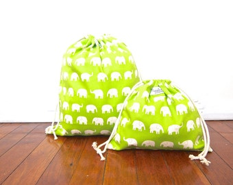 Set of 2 Drawstring Bags / Library Bags - Green Elephants