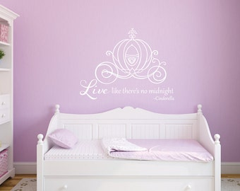 Cinderella princess carriage girls room Cinderella quote vinyl wall decal