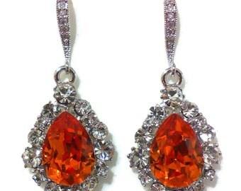 Tangerine Bridal Earrings, Orange Earrings, Swarovski Crystal Bridal Party Jewelry, Dangle Earrings, BIJOUX