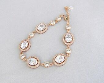 Rose Gold Bridal Bracelet, Crystal Wedding bracelet, Swarovski cz, Rose Gold,  Wedding Jewelry, Bridal Jewelry,  Chelsea Bracelet