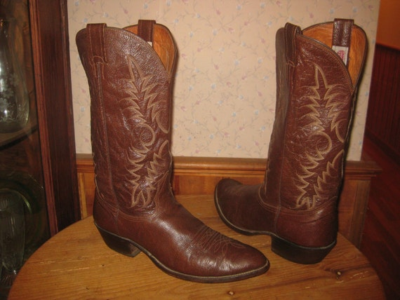 Nocona cowboy boots made in usa chocolate brown leather men 10 5 d