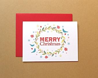 Christmas Cards, Holiday Cards, Christmas Wreath, Merry Christmas Rustic Christmas Cards, 25-Count