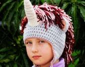 Unicorn Hat, Crochet Unicorn Hat, Toddler hat, teen unicorn hat, adult unicorn hat, stylish hat for teen, fantasy land unicorn, soft hat