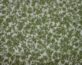 "Vintage Cotton Fabric, Green Print,  41""  37"" Wide"