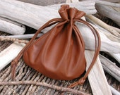 Leather Drawstring Pouch Bag, Clutch Pouch, Cosmetic Bag, Money Bag, Crystals Sack, Brown bag