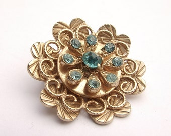 Antique 1940's Coro Pegasus gold flower brooch pin, ice blue rhinestone flower brooch, antique jewelry, gift for her